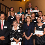 Darryl R Seccombe OAM, Chairman, Board of Advice Lady Bowen Trust with Her Excellency Governor of Queensland Penelope Wensley and Grant recipients